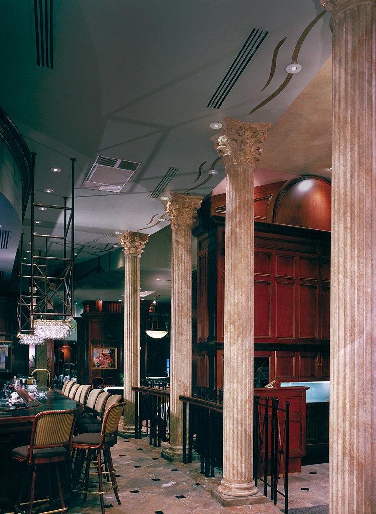 Faux Marble Corinthian Capitals in a Restaurant