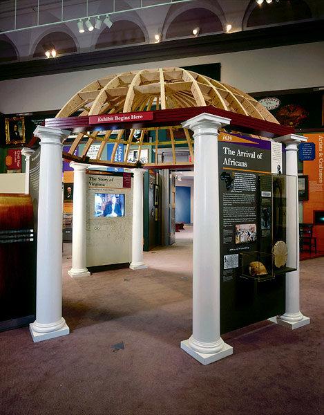 Doric Columns Support a Pergola in Museum
