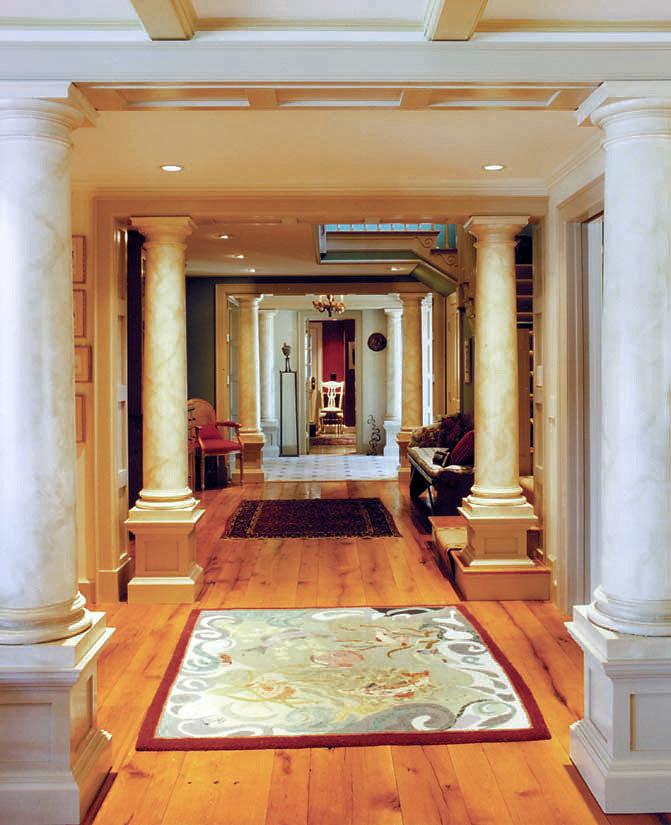 Faux Marble Doric Columns in Hallway