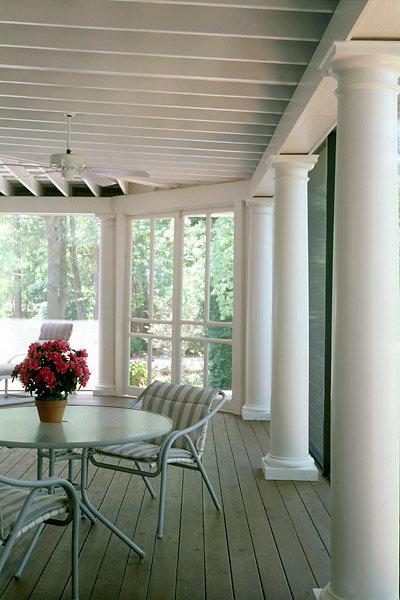 Smooth Tuscan Columns on Porch