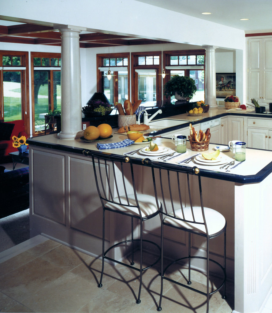 Faux Marble Tuscan Columns on Kitchen Counter
