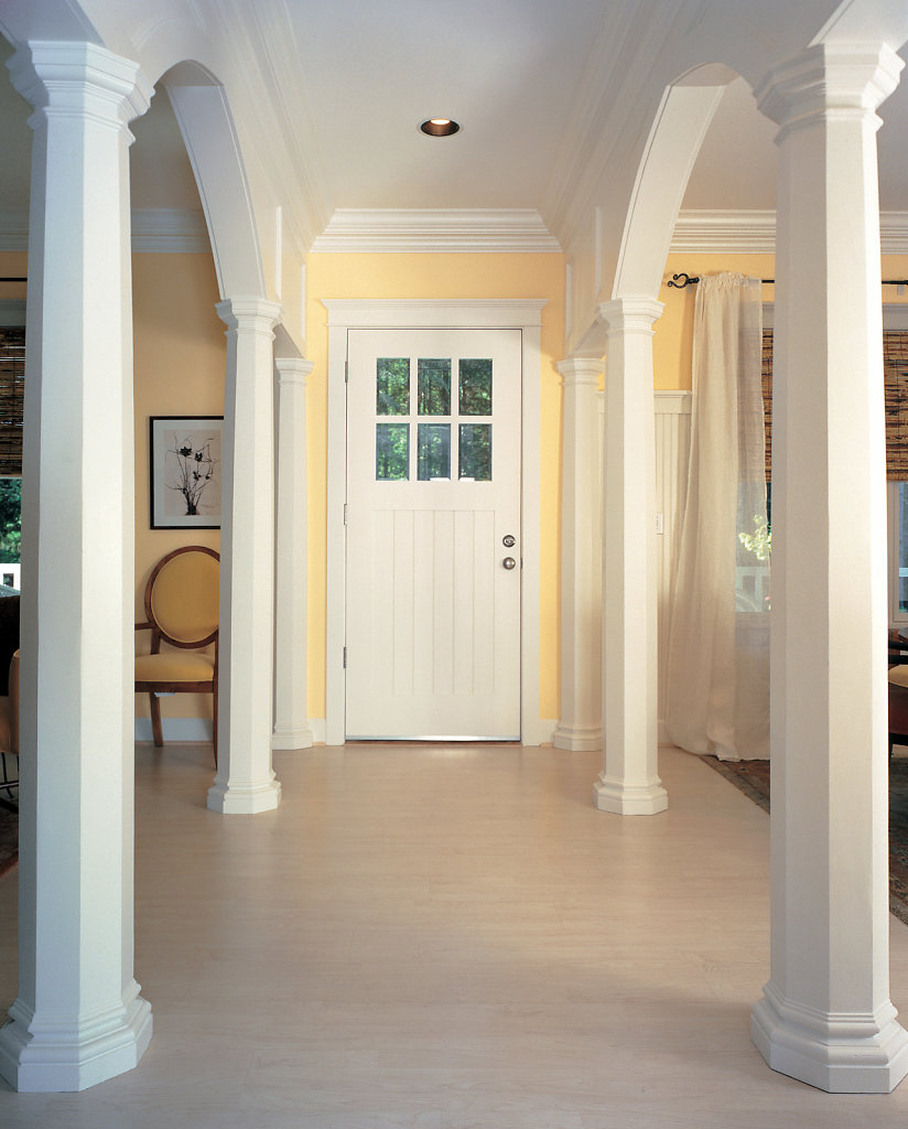 White Octagonal Columns in Foyer