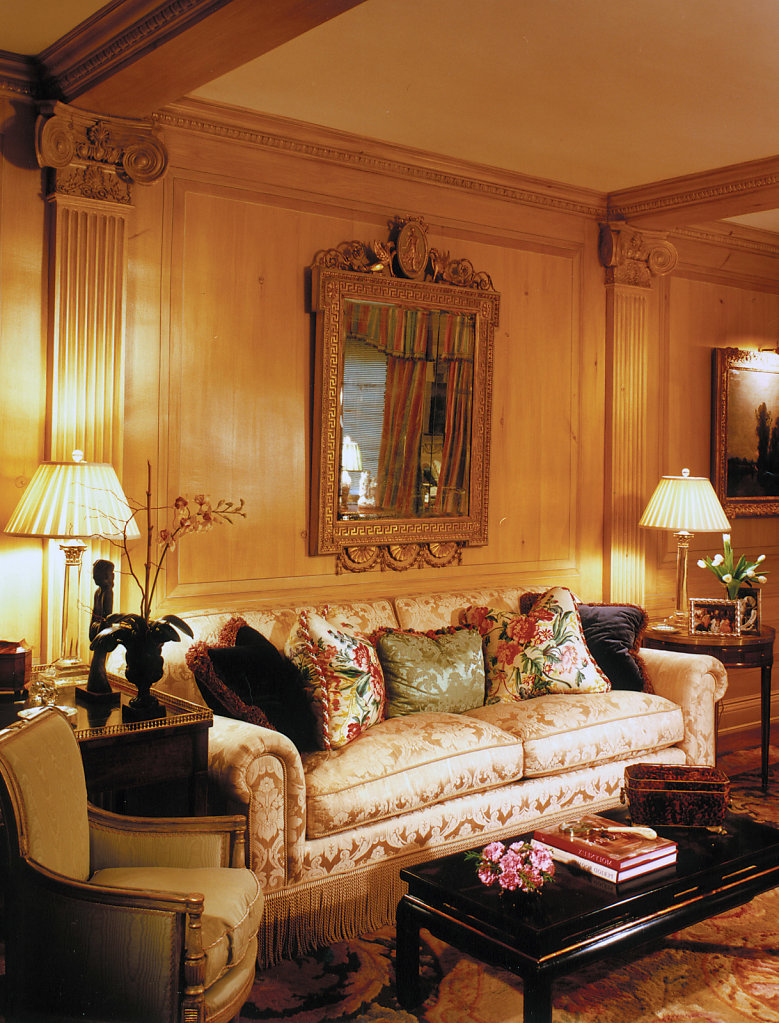 Stain-grade Wood Pilasters in Living Room