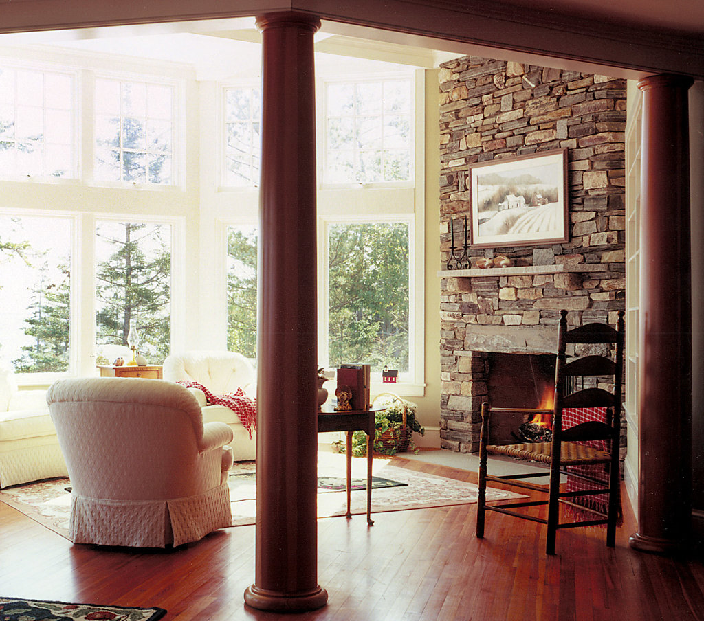 Two Stained Wood Columns in Sitting Area