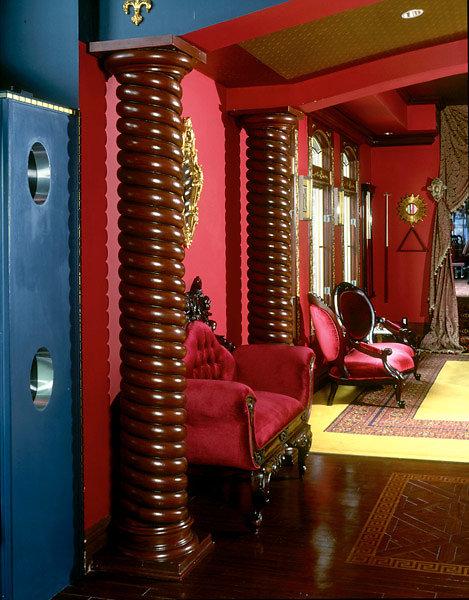 Brown Rope-Twist Spiral Columns in Foyer