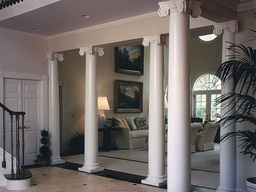 Wood Scamozzi Columns in a Foyer