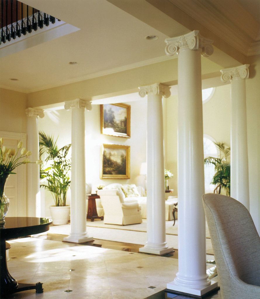 White Smooth Scamozzi Columns in a Foyer