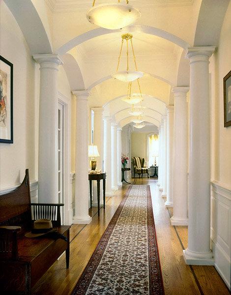 Tuscan Wood Columns in Hallway