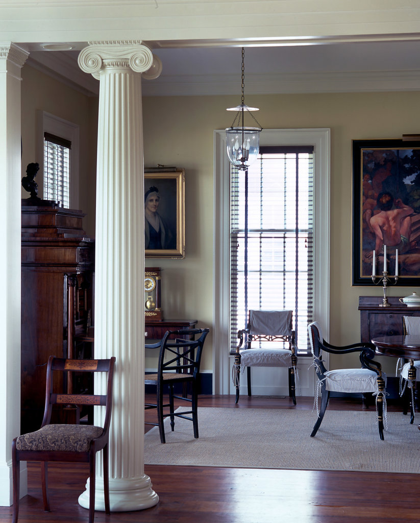 Fluted Ionic Column in Dining Room of Chadsworth Cottage