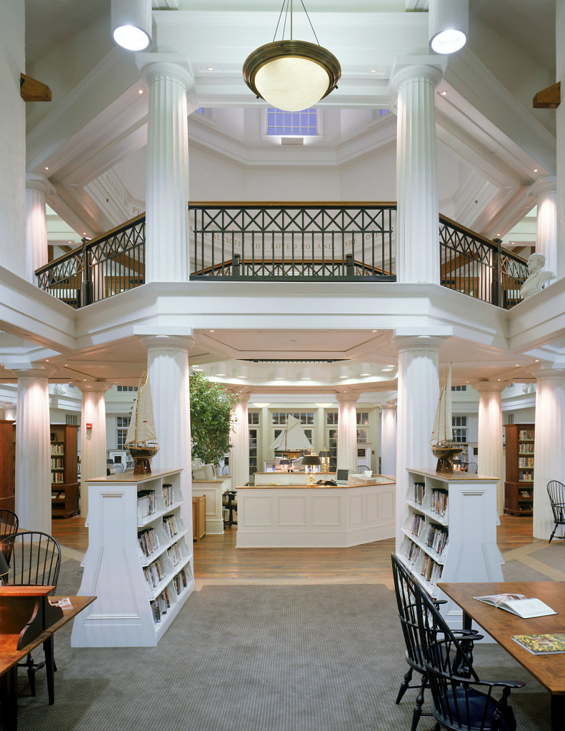 Large Fluted Doric Columns in a Library