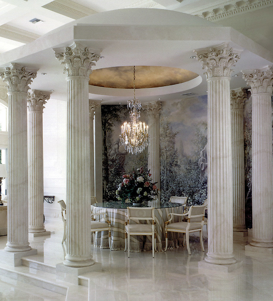 Fluted Faux Marble Corinthian Columns in Living Room