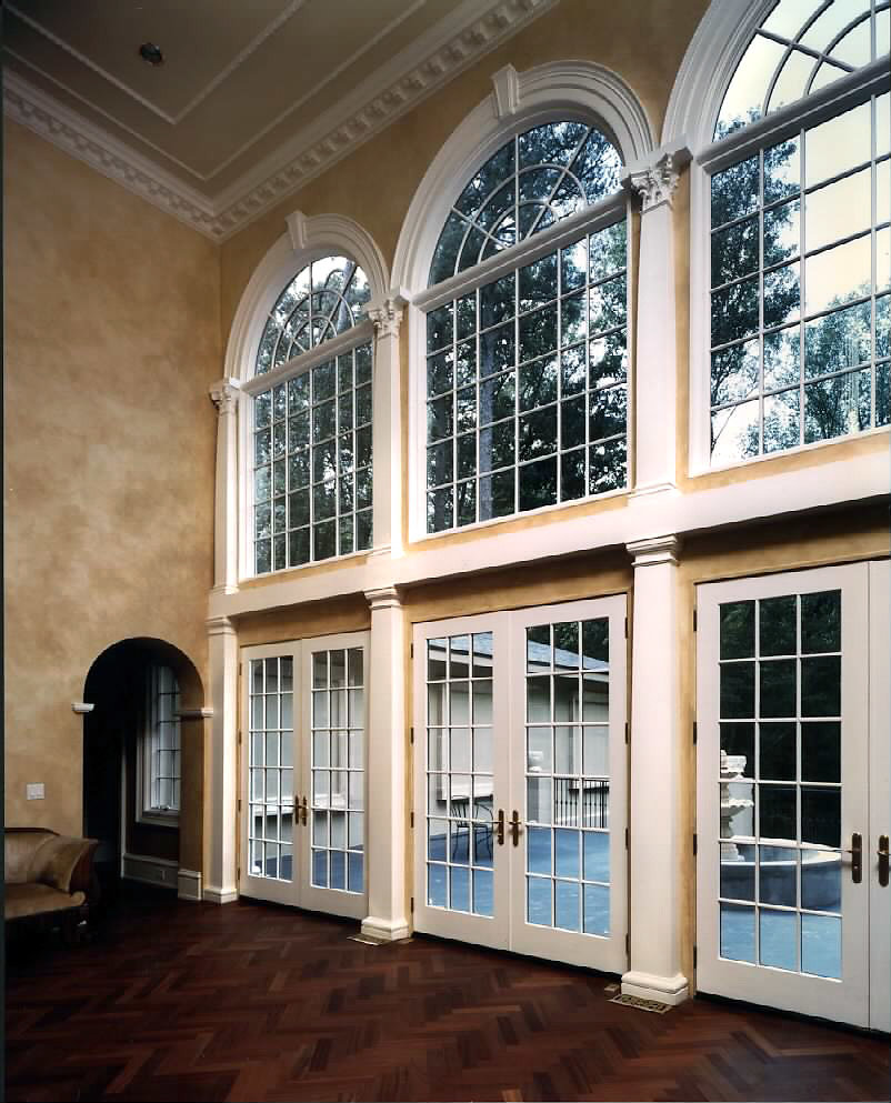 Corinthian and Tuscan Pilasters on Large Living Room Wall