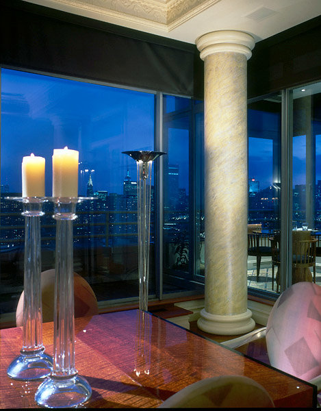 Faux Marble Column overlooking Manhattan