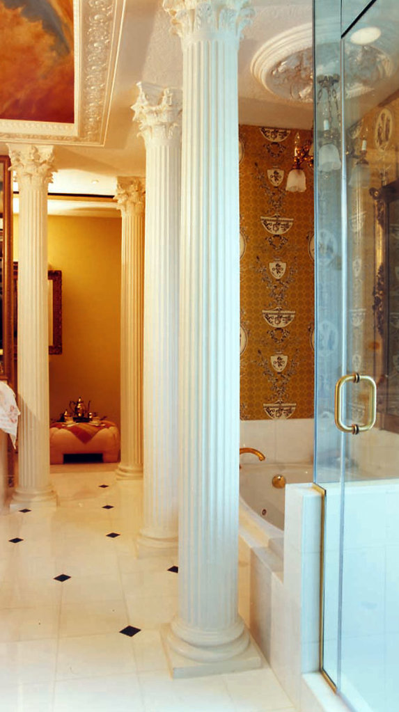 Fluted Corinthian Columns in Bathroom