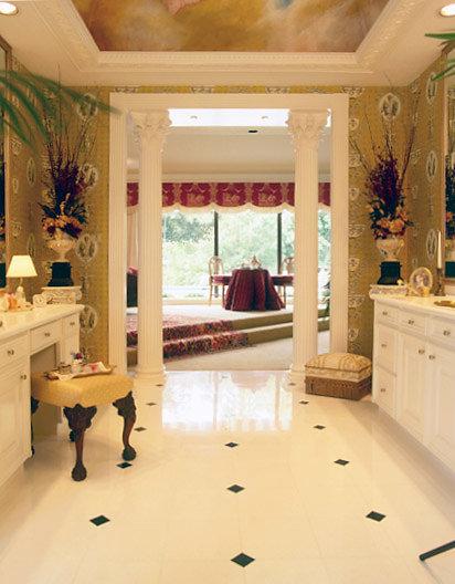 Corinthian Columns in Entryway of Bathroom