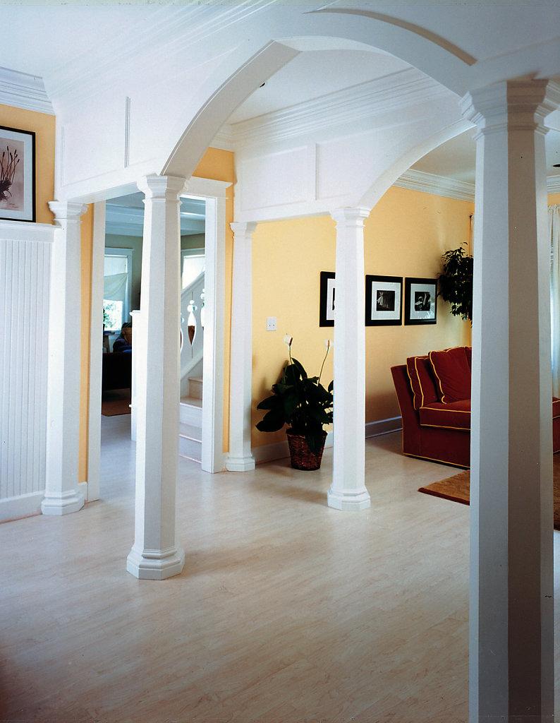Octagonal Columns Line a Foyer