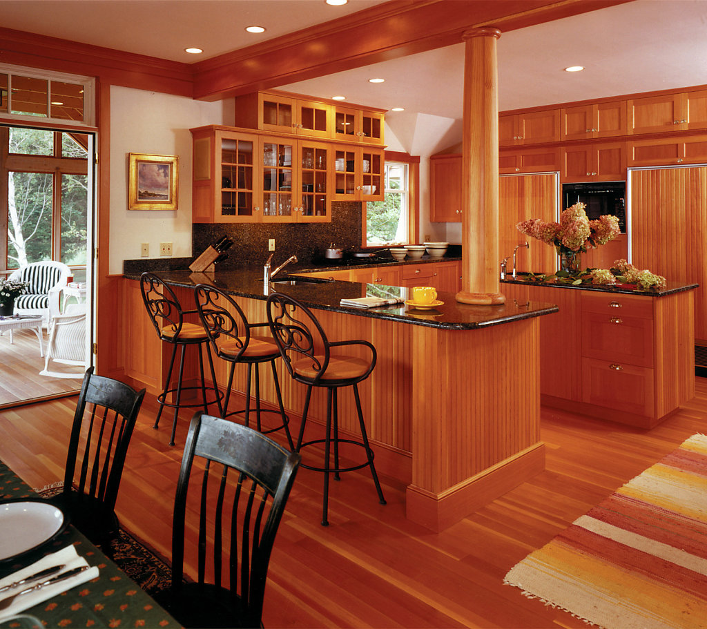 Contemporary Wood Column on Kitchen Counter