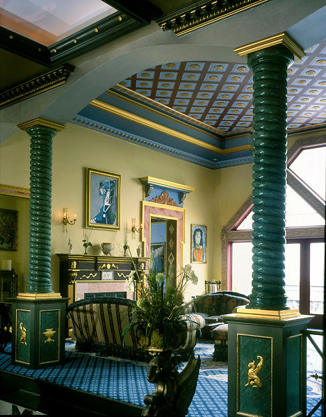 Green Rope-Twist Spiral Columns in Living Room
