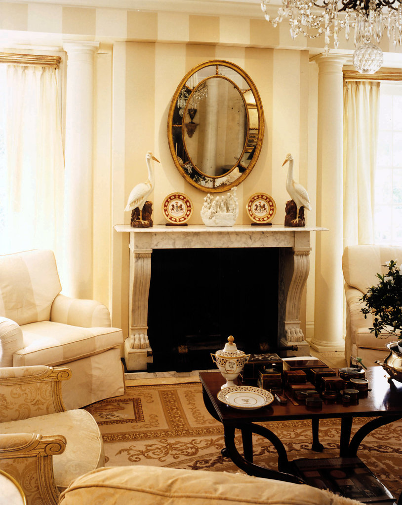 White, Wood Columns in a Living Room