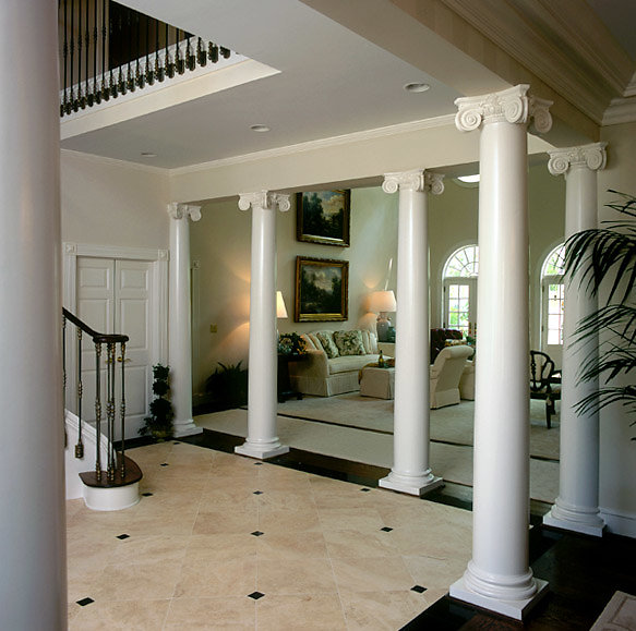 White Smooth Scamozzi Columns in Foyer
