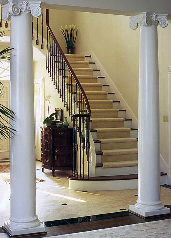 White Scamozzi Columns in Entryway