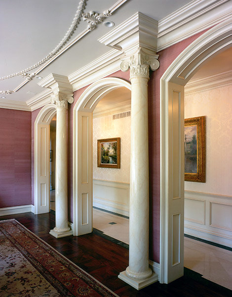 Columns with Angular Ionic Capitals in Hallway