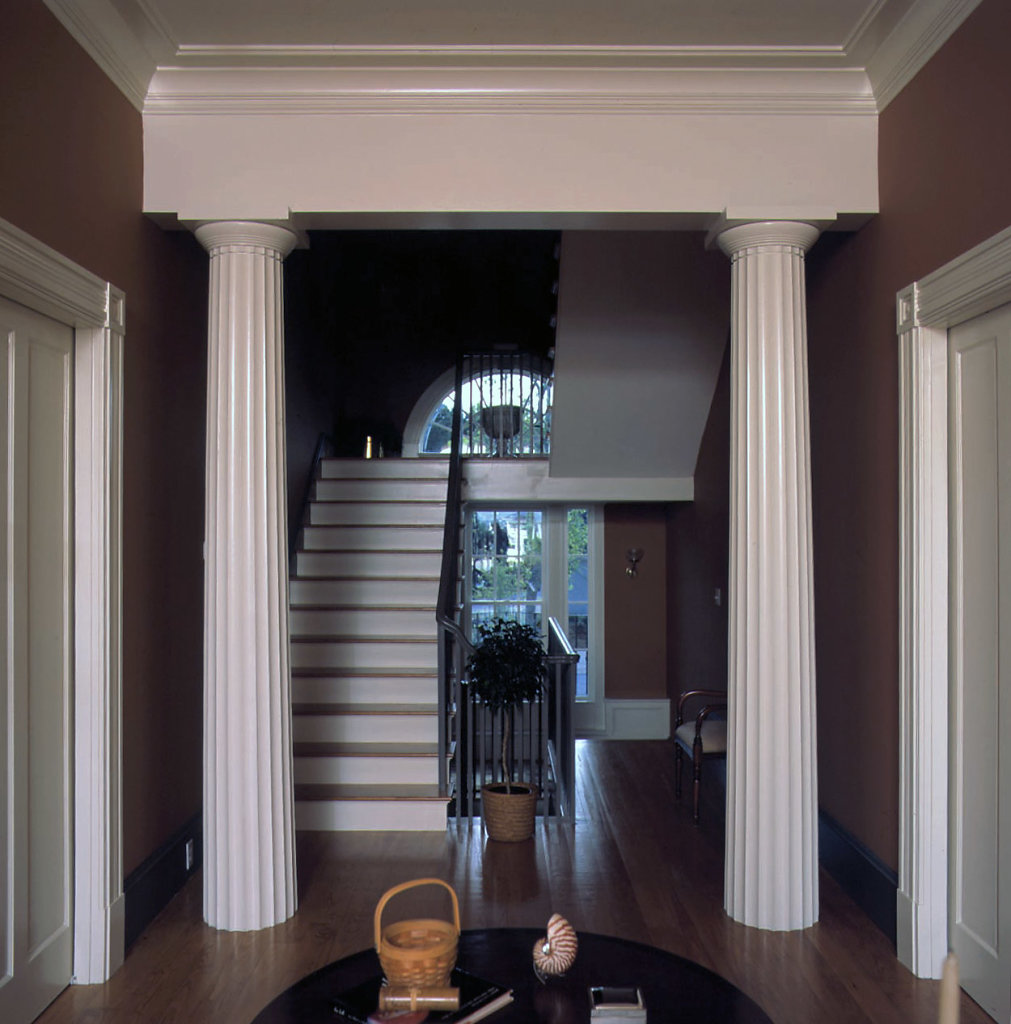 Fluted Doric Columns in a Foyer