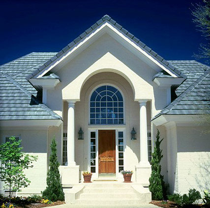 Tuscan PolyStone® Columns under Eave of Residence